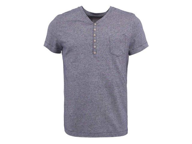 Tmavě modré žíhané triko s knoflíky Blend
