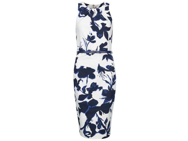 Bílé pouzdrové šaty s modrými květy Closet