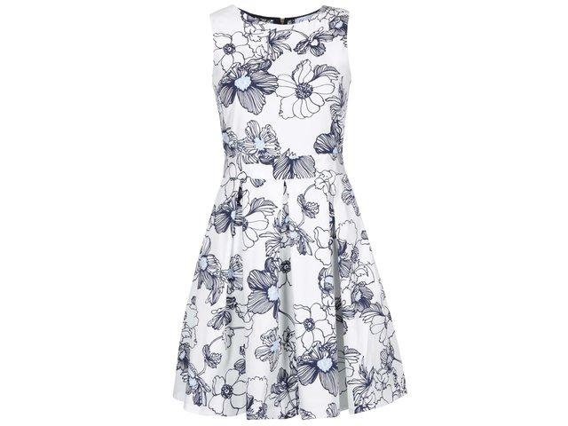 Modro-bílé šaty s krajkovými zády a květy Closet