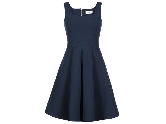 Tmavě modré šaty se skládanou sukní Closet