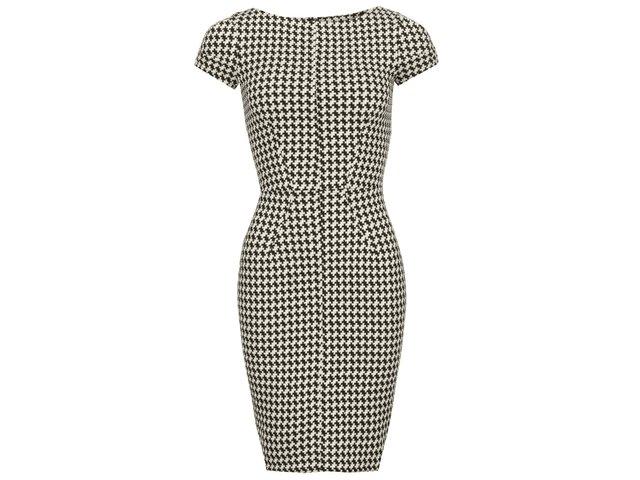 Černo-béžové pouzdrové šaty s kohoutí stopou Closet
