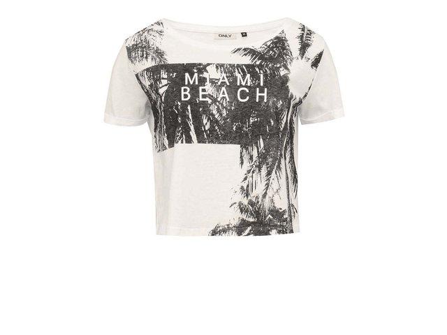 Krémové kratší triko s potiskem ONLY Ella