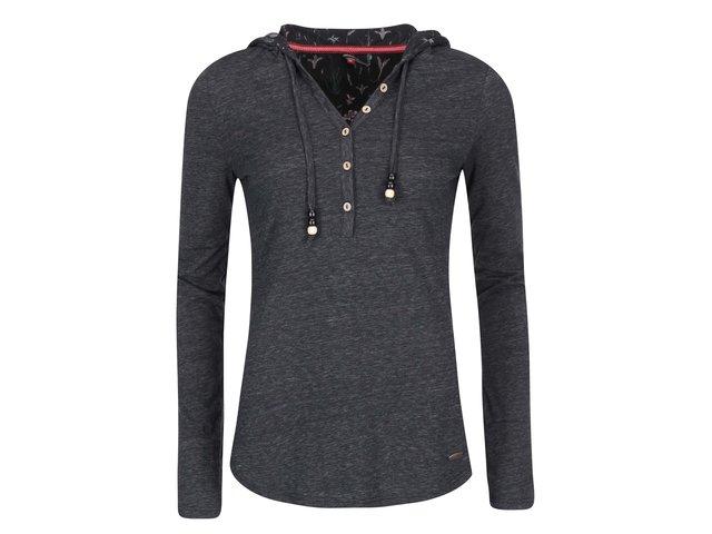 Tmavě šedé dámské tričko s dlouhým rukávem a kapucí Ragwear Drop