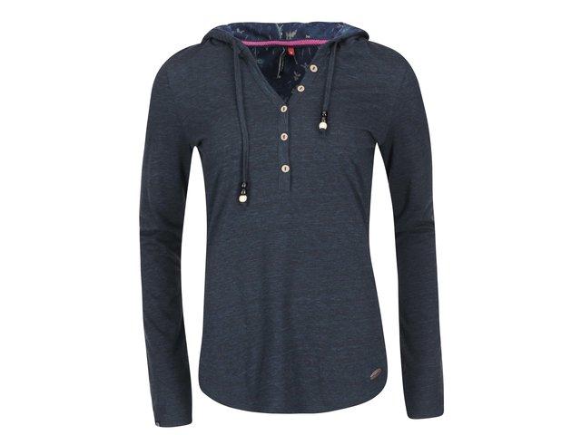 Modré dámské tričko s dlouhým rukávem a kapucí Ragwear Drop