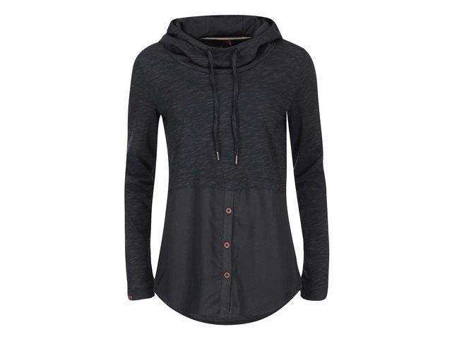 Černé dámské tričko s dlouhým rukávem a kapucí Ragwear Megan