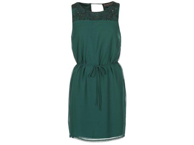 Zelené šaty se zdobeným dekoltem Vero Moda Nabila