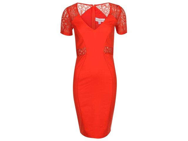 Červené šaty s krajkovými rukávy Paper Dolls