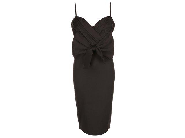 Černé pouzdrové šaty s mašlí Girls On Film