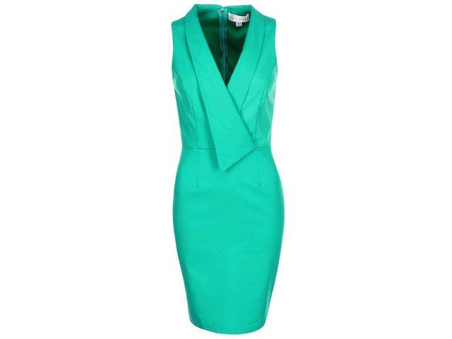 Zelené šaty s véčkovým výstřihem Paper Dolls