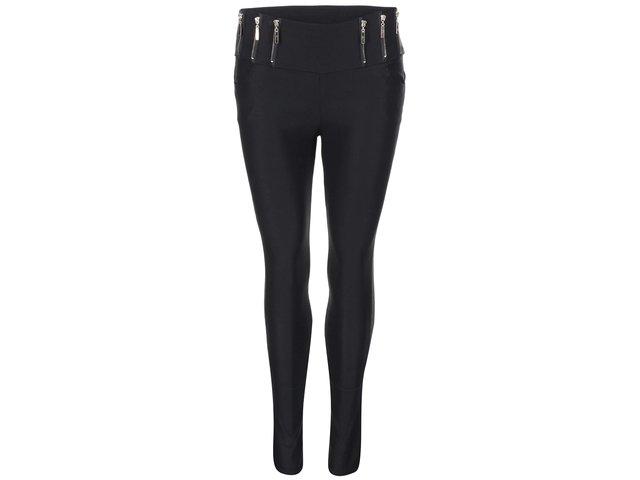Černé strečové kalhoty se zipy Madonna Annika