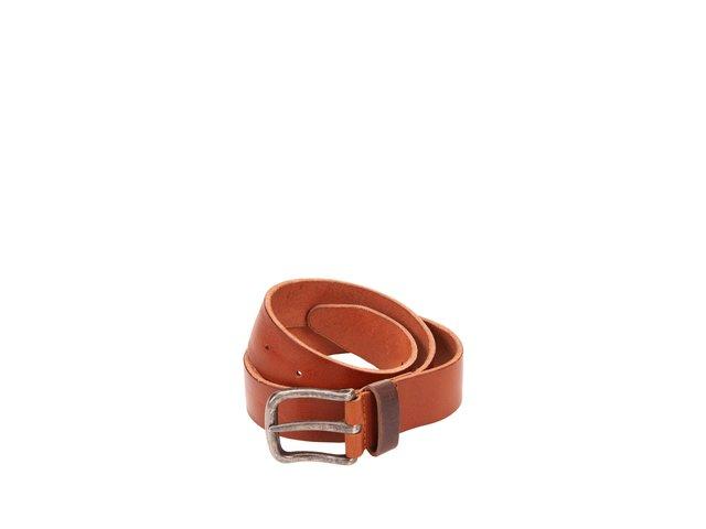 Hnědý kožený pásek Jack & Jones Twist