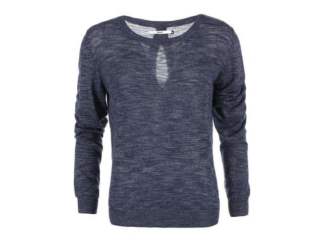 Modrý žíhaný svetr s průstřihem na zádech ONLY Mellow