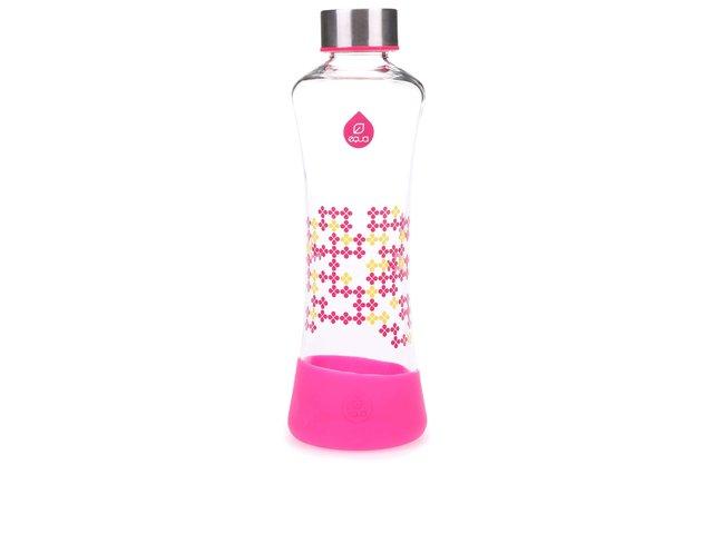 Skleněná láhev s růžovými vzory EQUA CMYK SQUEEZE (550 ml)
