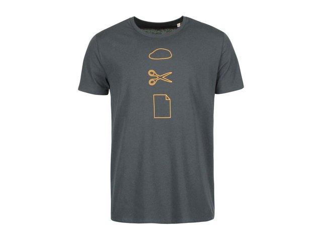 Tmavě šedé pánské triko ZOOT Originál Kámen Nůžky Papír