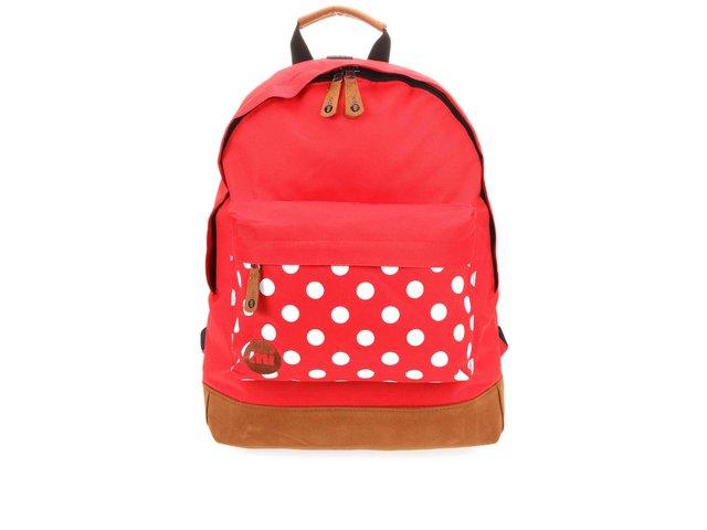 Červený dámský batoh s puntíkovanou kapsou Mi-Pac Polka