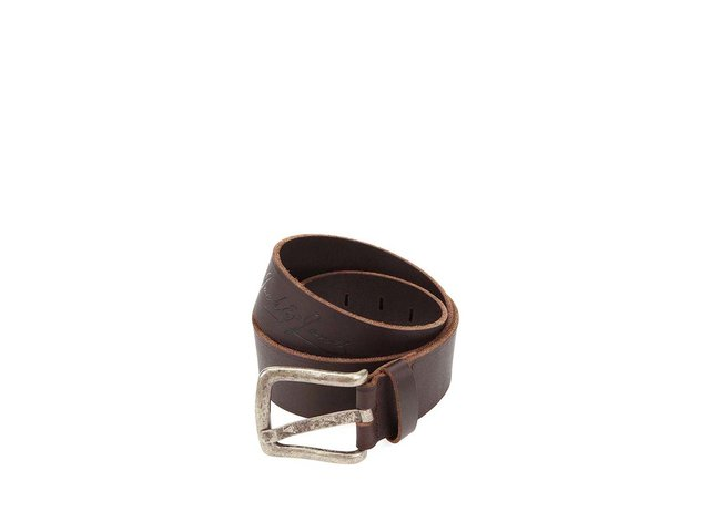 Tmavě hnědý kožený pásek Jack & Jones Color