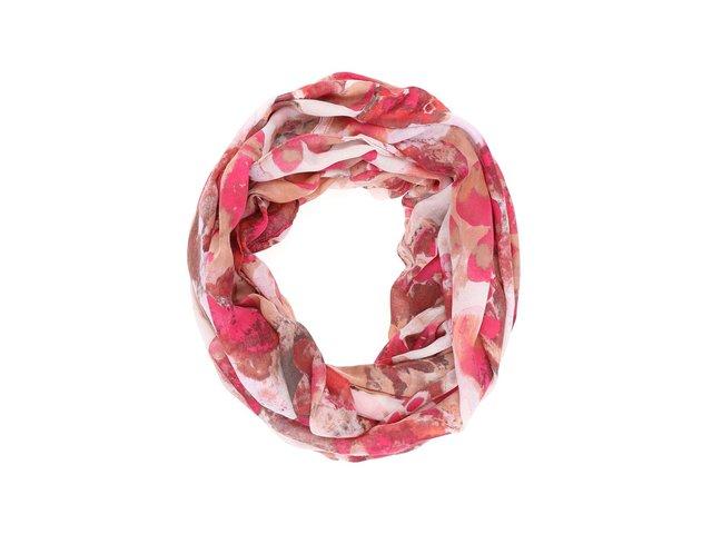 Růžový vzorovaný šátek Pieces Mette