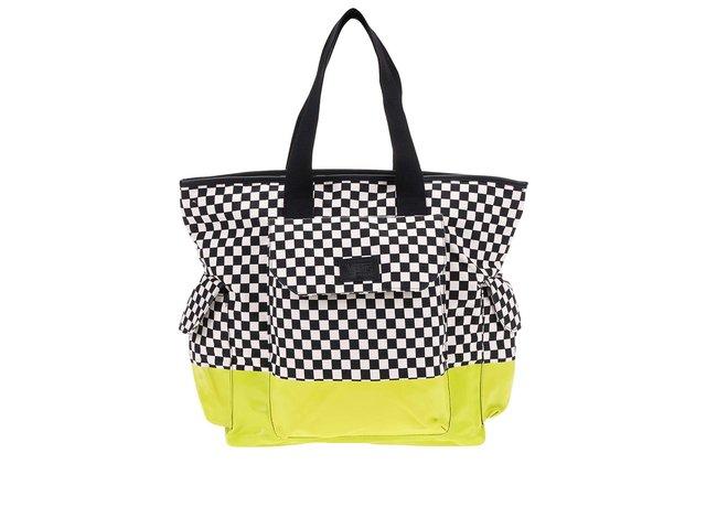 Černo-bílo-žlutá prostorná taška Vans Peace