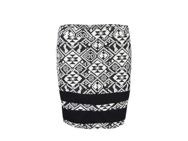 Bílo-černá sukně s žakárovým vzorem ONLY Charlot