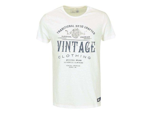 Krémové triko s vintage textem Blend