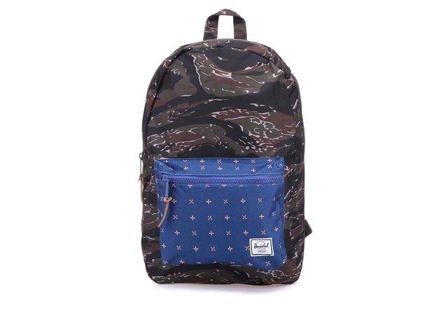 Maskáčový batoh s modrou vzorovanou kapsou Herschel Settlement
