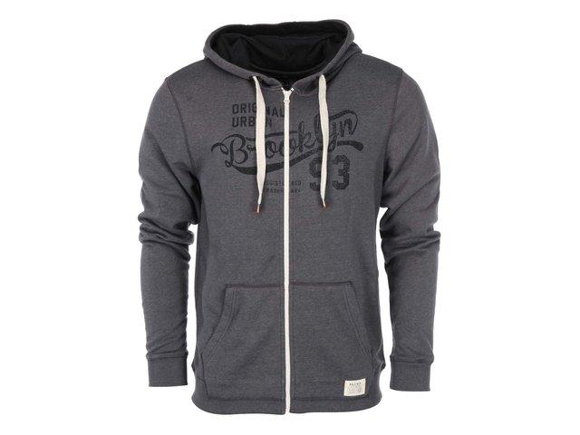 Tmavě šedá mikina na zip s kapucí Blend