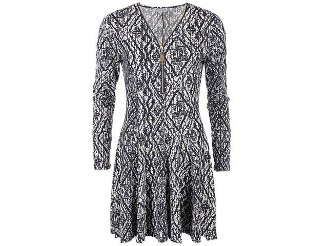 Bílo-černé vzorované šaty s výstřihem na zip Apricot