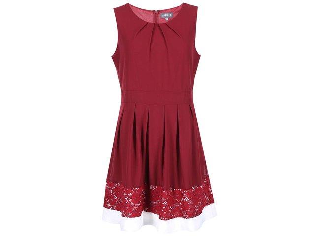 Vínové šaty s krajkou a bílým lemem Apricot