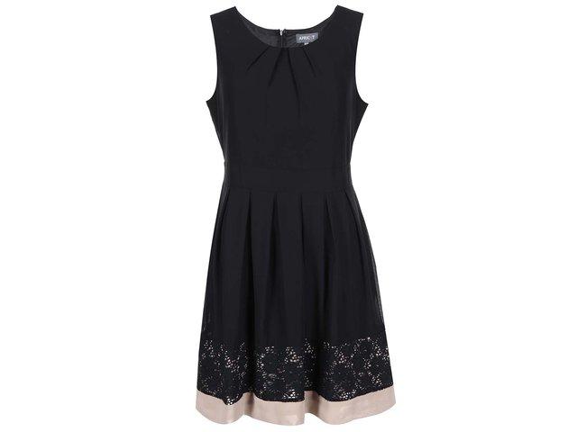 Černé šaty s krajkou a béžovým lemem Apricot