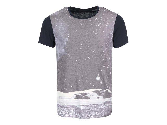 Šedo-černé triko s potiskem měsíční krajiny Blend