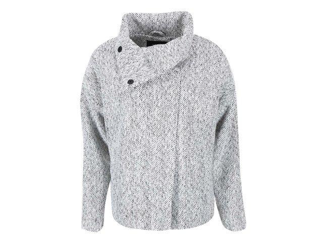 Černo-bílý kratší kabát  s vysokým límcem VILA Lie