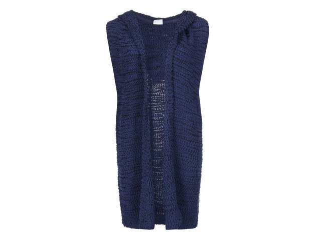 Tmavě modrá pletená vesta s kapucí Noisy May Serane