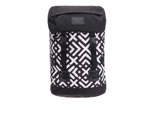 Bílo-černý unisex batoh se vzorem Burton Tinder