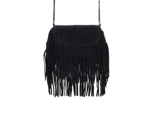 Černá kožená menší kabelka s třásněmi Pieces Ruthi
