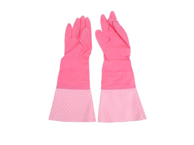 Růžovo-vínové retro gumové rukavice Rex Pantry Spotty