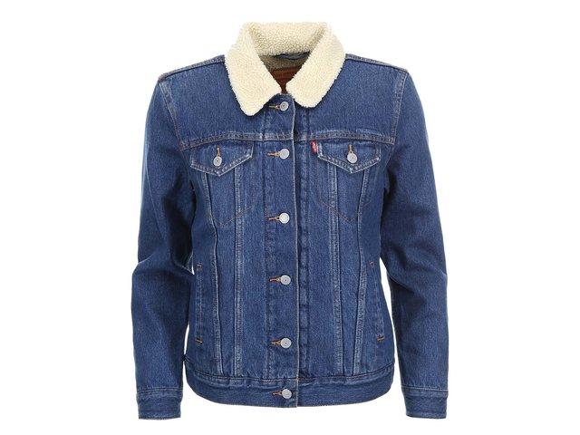 Modrá dámská džínová bunda s kožíškem Levi's®