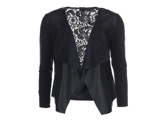 Černý koženkový blejzr s krajkou Haily´s Cora