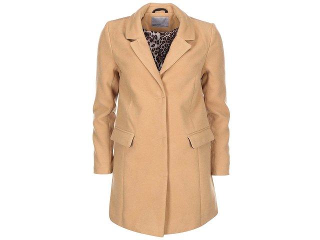 Hnědý kabát s leopardí podšívkou Vero Moda City