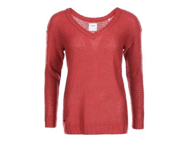 Červený svetr s véčkovým výstřihem Vero Moda Celeste