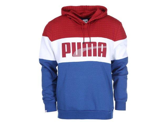 Červeno-bílo-modrá pánská mikina s kapucí Puma Game
