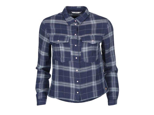 Tmavě modrá kostkovaná košile ONLY Elin