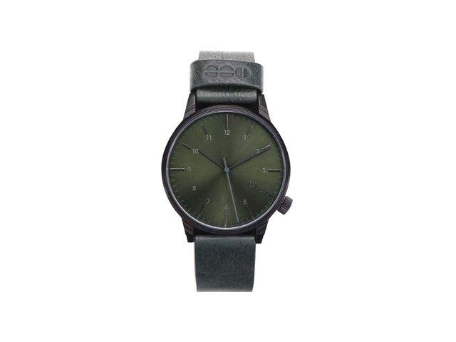 Tmavě zelené unisex kožené hodinky Komono Winston Regal