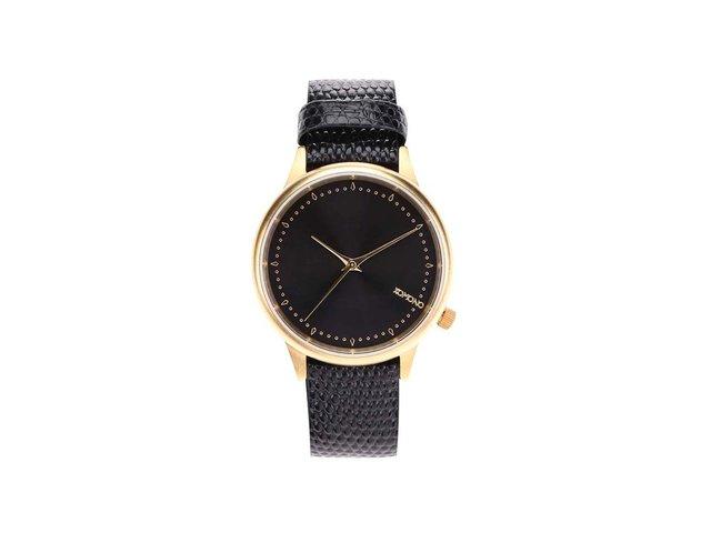 Černé dámské kožené hodinky Komono Estelle Lizard