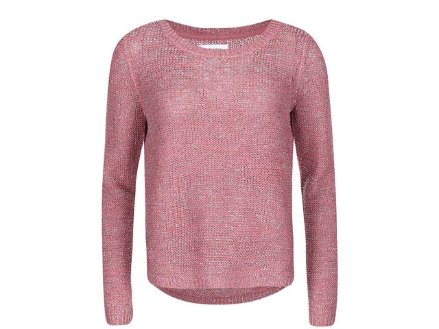 Růžový svetr se stříbrným prošíváním ONLY Geeny