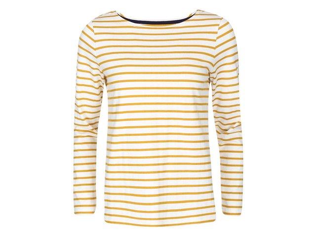Krémové tričko se žlutými pruhy s dlouhým rukávem Tom Joule Harbour