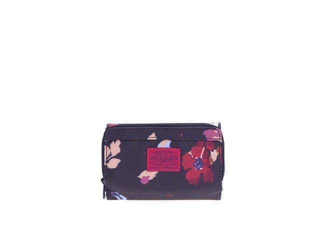 Tmavě modrá menší peněženka s barevnými květy Tom Joule Merton