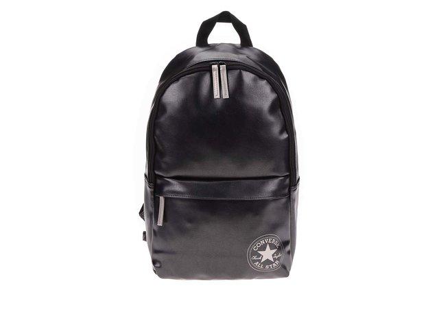 Černý koženkový batoh se stříbrnými odlesky Converse Backpack