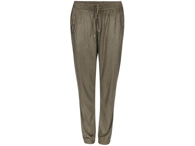 Khaki volnější semišové kalhoty VILA Tristin