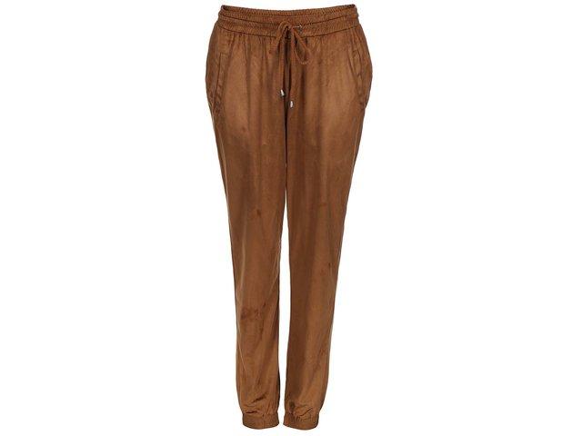 Hnědé volnější semišové kalhoty VILA Tristin