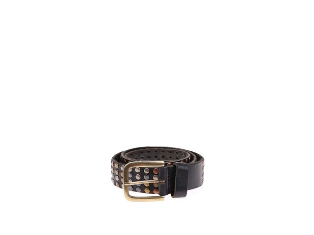 Černý kožený pásek s barevnými kovovými detaily Jack & Jones All Over